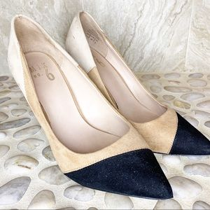Mix No. 6 Pointy Toe Pump Black and Tam Suede